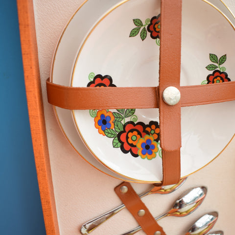 Vintage 1960s Brexton Picnic Box / Set - Flower Power China - Orange Case