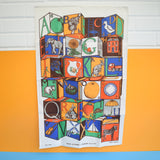 Vintage 1960s Tea Towel - Toy Block Print - Unused