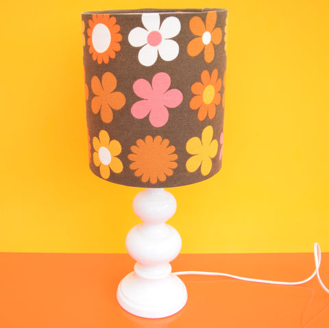 Vintage 1960s Doulton Ceramic Table Lamp - Flower Power Shade, Orange & Brown