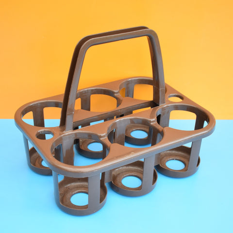 Vintage 1970s Plastic Bottle Carrier - Brown