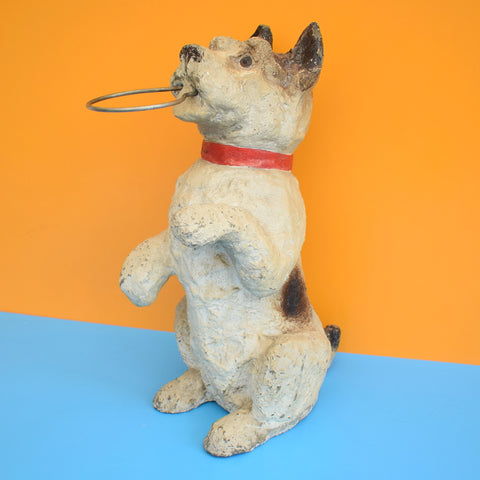 Vintage 1950s Large Solid Concrete Terrier Dog Stand