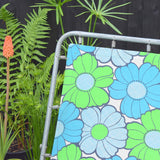Vintage 1970s Garden Sun Lounger - Blue & Green Flower Power .