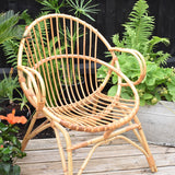 Vintage 1960s Bamboo Chair With Arms - Natural Finish