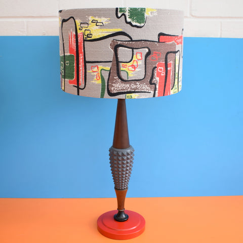 Vintage 1950s Teak & Plaster Lamp - Amazing Barkcloth Shade - Red, Black, Yellow