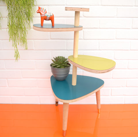 Vintage Formica Tiered Plant Stand / Table - Green & Blue Formica Tops