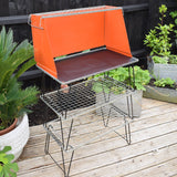 Vintage 1970s Folding Camping Stand Table - VW Camper Van, Glamping - Orange & Black