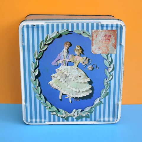 Vintage 1960s Kitsch Metal Tin - Collage Design