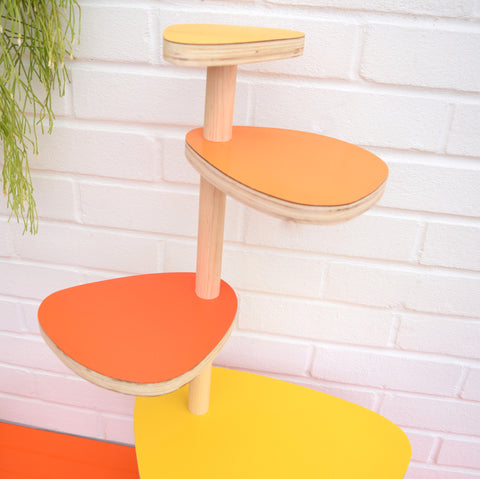 Vintage Formica Tiered Plant Stand / Table - Orange & Yellow Formica Tops