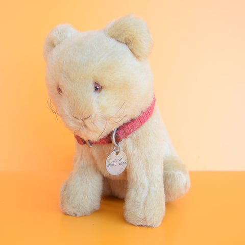 Vintage 1950s Cat Soft Toy - Mohair, Straw filled - LEW 1955