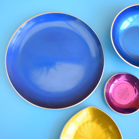Vintage 1960s Anodised Dishes - Norway - Blue, Purple, Yellow