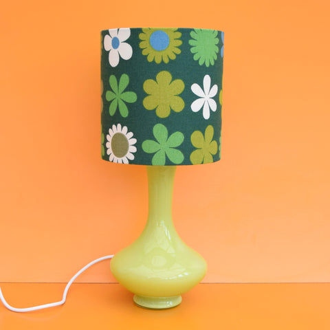 Vintage 1960s Glass Italian / Scandinavian Lamp & Heidi Shade - Green