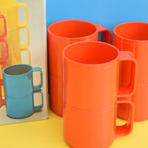Vintage 1980s Italian Stacking Plastic Cups / Mugs - Blood Orange