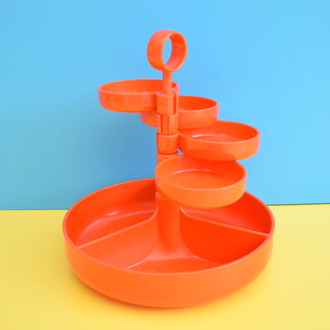 Vintage 1970s Dialene Plastic Party Snack Set - Orange