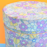 Vintage 1960s Fabric Covered Container - Flower Power - Blue