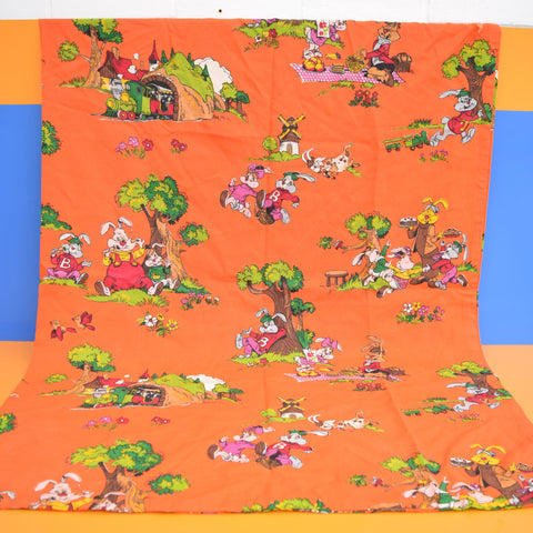 Vintage 1970s Large Sack / Single Curtain - Bobo Bunny -Dutch Fabric