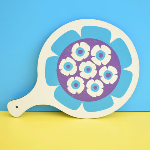 Vintage 1970s Flower Power Chopping Board - Blue & White