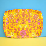 Vintage 1960s Flower Power Large Thetford Tray - Yellow