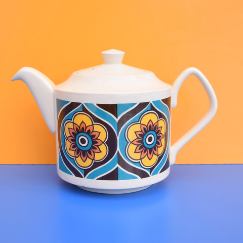 Vintage 1960s Tea Pot - Sadler, Yellow, Orange & Blue Flower Design