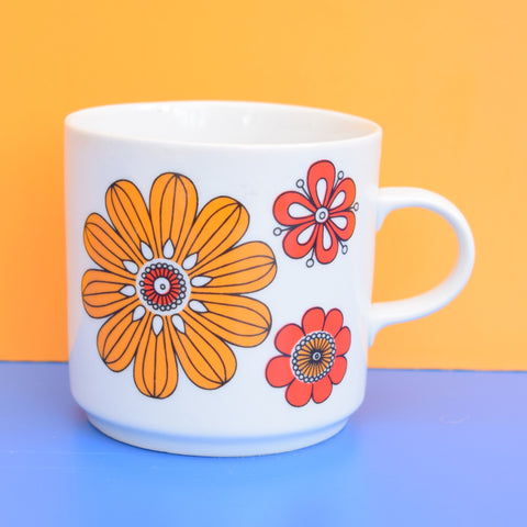 Vintage 1960s Mug - Hungarian, Flower Power, Orange