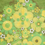 Vintage 1960s Cotton Tea Towel - Floradora Flower Design, Green