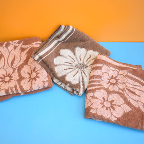 Vintage 1960s Cotton Flower Power Towels - Various Designs