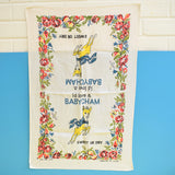 Vintage 1950s Cotton Tea Towel - Babycham .