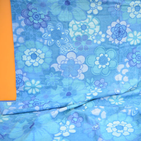 Vintage 1960s Curtains Flower Power,  Blue Barkcloth