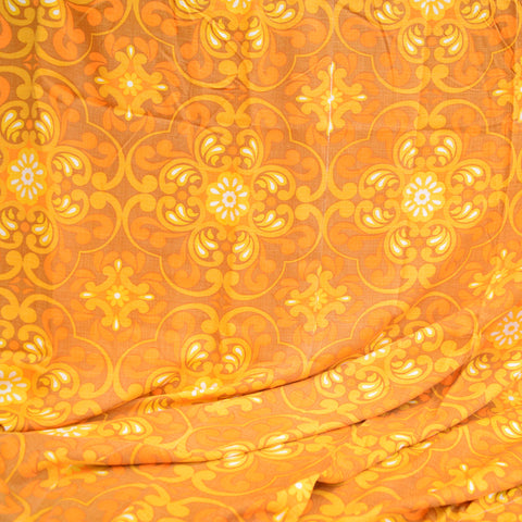 Vintage 1960s Curtains Swirls,  Orange & Brown