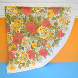 Vintage 1970s Round Tablecloth - Rose Design - Red / Yellow
