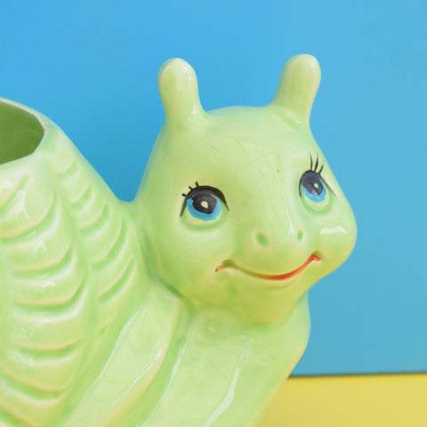Vintage 1960s Ceramic Happy Snail Planter - Green