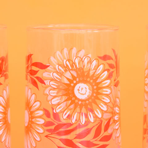Vintage 1960s Flower Power Drinking Glasses - Orange