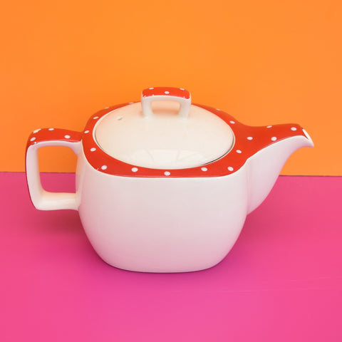 Vintage 1950s Midwinter Spotty Domino Tea Pot - Red