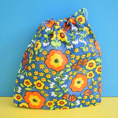 Vintage 1960s Vinyl Wash Bag / Storage Bag - Blue & Orange Flower Power