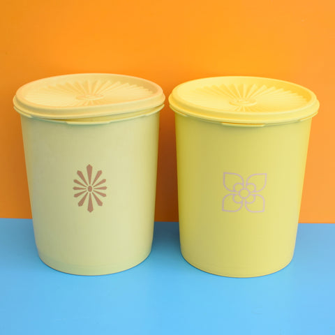Vintage 1970s Tupperware Fan Top Containers - Yellow