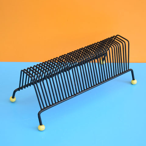 Vintage 1950s Small Atomic Record Rack - Yellow & Black