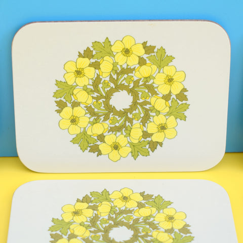 Vintage 1970s Cork Backed Coasters x6 - Boxed - Yellow Flowers