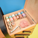 Vintage 1960s Sewing / Hobby Box - Cantilevered Wood & Some Contents