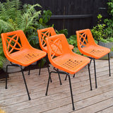 Vintage 1970s plastic / Metal Stacking 'Astral' Chairs - Geeco England - Orange x4