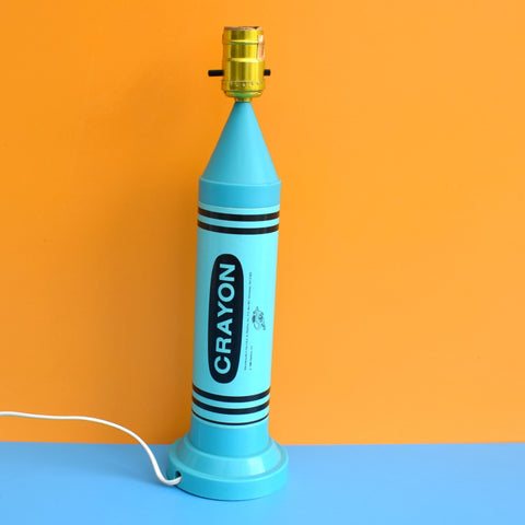 Vintage 1980s Oversized Crayon Lamp - Pop Art - Turquoise