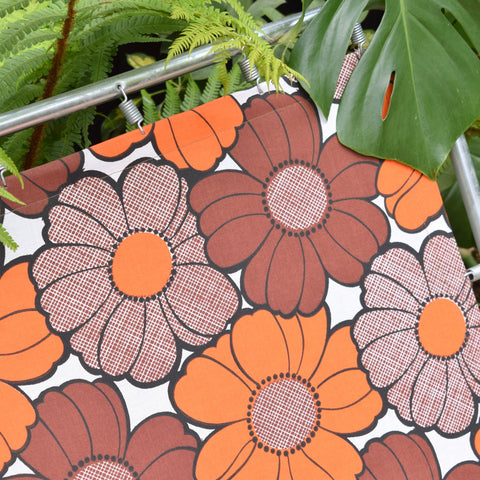Vintage 1970s UNUSED Garden Sun Lounger - Orange & Brown Flower Power
