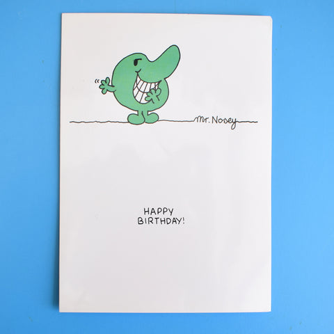 Vintage 1980s Greeting Card - Mr Men - Mr Nosey / Mr Uppity