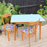 Vintage 1970s Formica Table - Denim Style Printed Formica & Two Chairs - Flower Power - Blue