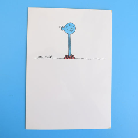 Vintage 1980s Greeting Card - Mr Men - Mr Dizzy / Mr Tall
