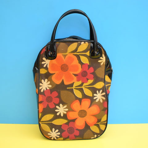 Vintage 1960s Vinyl Holdall Bag - Orange Flower Power