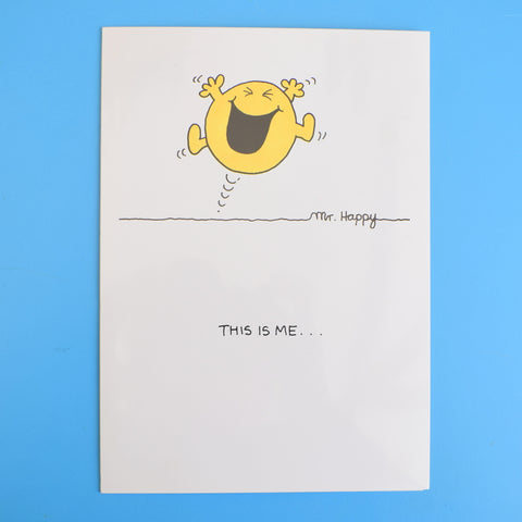 Vintage 1980s Greeting Card - Mr Men - Mr Happy / Mr Slow