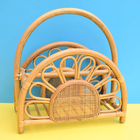 Vintage 1970s Bamboo Magazine Newspaper Rack - Flower Design