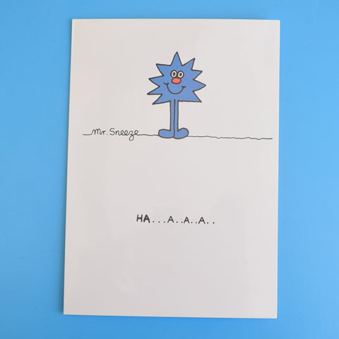 Vintage 1980s Greeting Card - Mr Men - Mr Sneeze / Mr Small