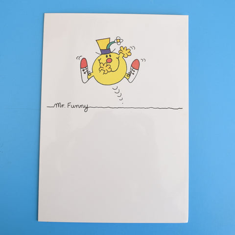 Vintage 1980s Greeting Card - Mr Men- Mr Funny / Mr Worry