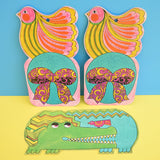 Vintage 1970s Large Gift Tags - Psychedelic Crocodile / Bird