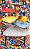 Vintage Formica Tiered Plant Stand / Table - Red, Blue, Grey & Yellow Formica Tops